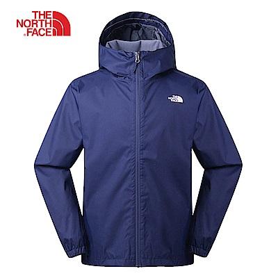 The North Face北面男款深藍色防水透氣連帽衝鋒衣|3L88A7L