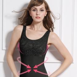 可蘭霓Clany  蕾絲款Tactel 輕機塑身M-3XL美體衣 神秘黑