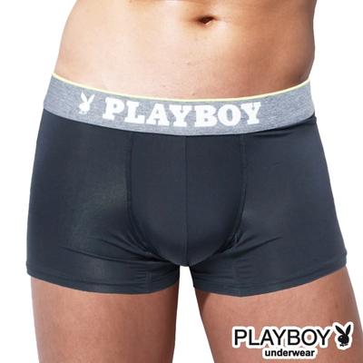 PLAYBOY 素面輕薄涼感絲沁涼彈性四角褲-單件-黑