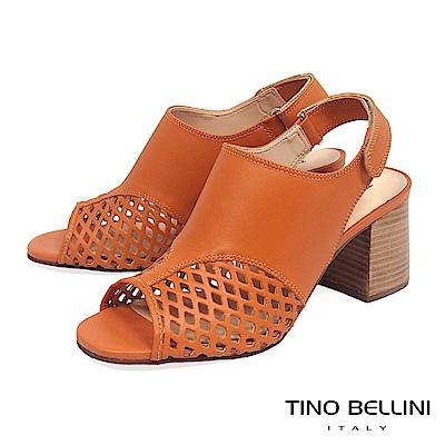 Tino Bellini 巴西進口摩登網狀魚口高跟涼鞋_ 橘