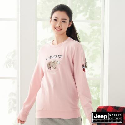 Jeep 女裝 北極熊圖騰長袖大學T恤-粉紅色