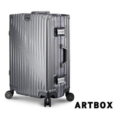 【ARTBOX】時空魅影 26吋獨家飾紋海關鎖鋁框行李箱(時尚灰)
