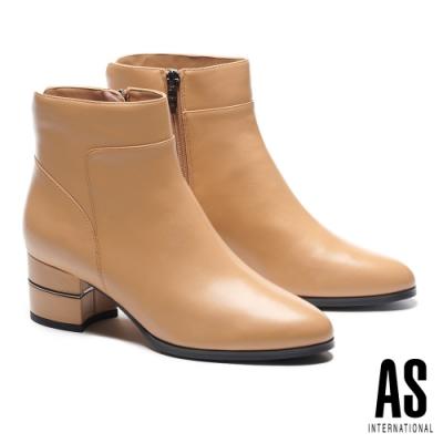 短靴 AS 簡約率性接版造型全真皮尖頭高跟短靴-米