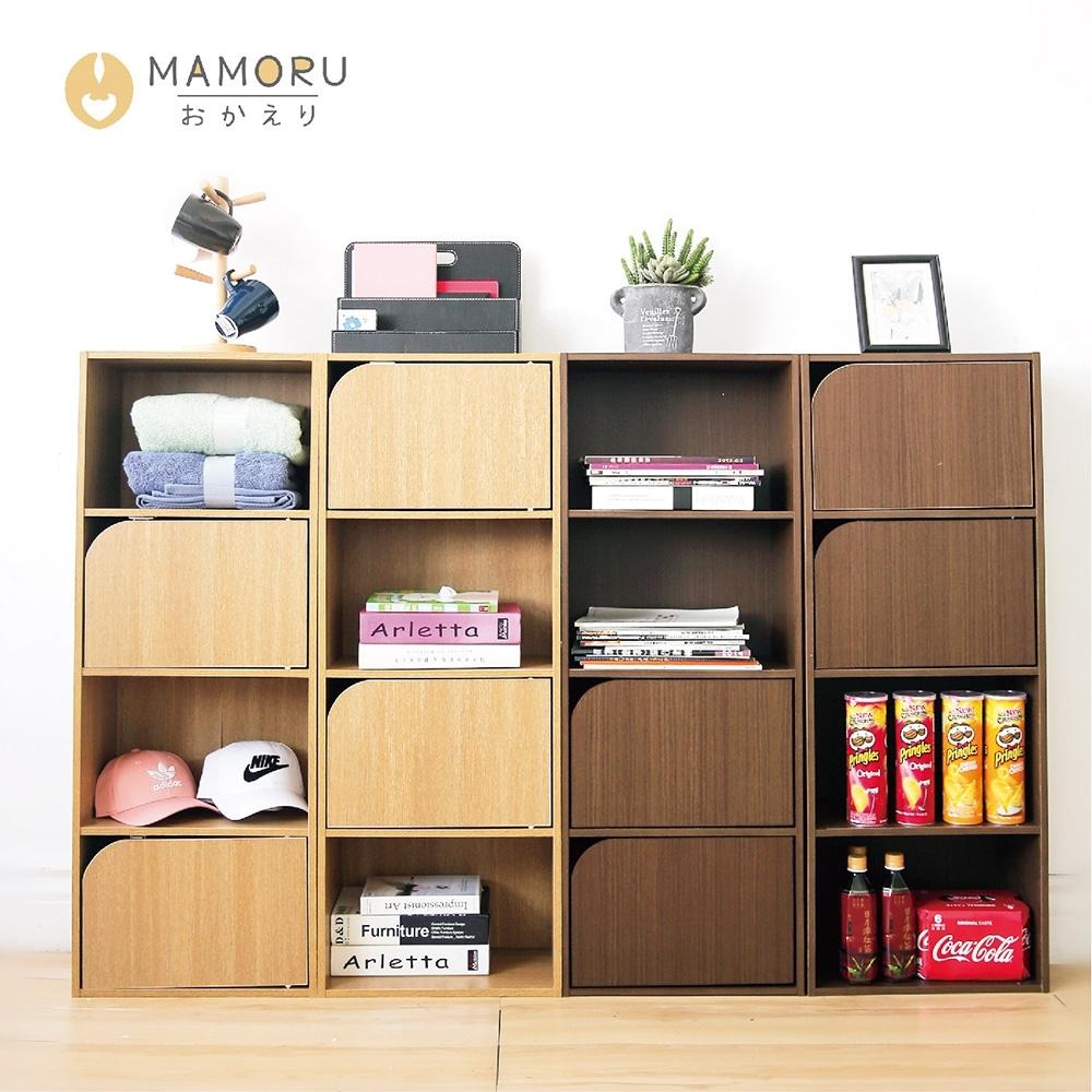 好購家居  日式簡約四層兩門木紋收納櫃