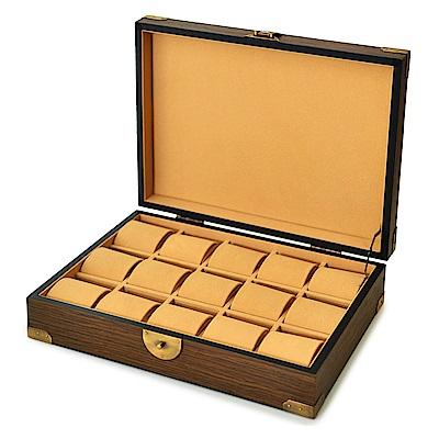 WISH 復古風 實木手錶收藏盒/收納盒‧15只裝(咖啡色)