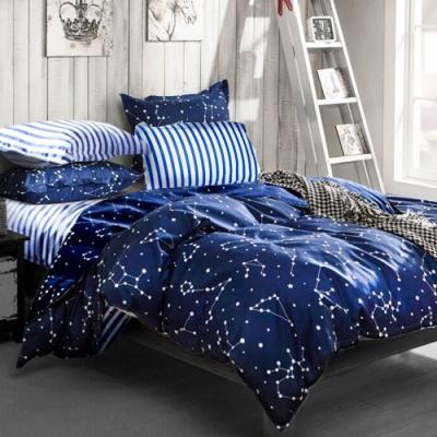 A-ONE 磨毛H系列-雪紡棉磨毛加工處理-加大床包兩用被組-流星雨