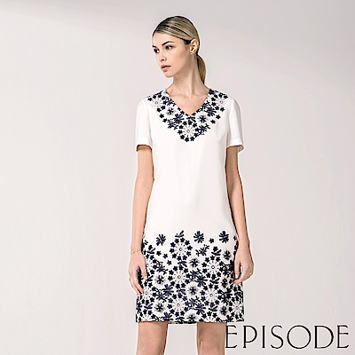 EPISODE - 花朵刺繡設計洋裝(白)