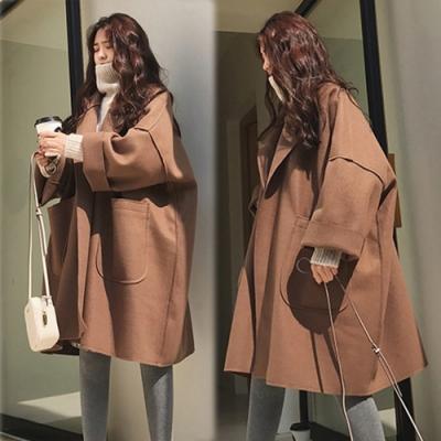 【韓國K.W.】毛呢寬鬆男友風焦糖外套-1色