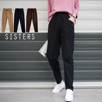 SISTERS 輕鬆自在的棉麻老爺休閒褲寬褲/加大/共三色