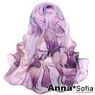 AnnaSofia 魅染荷花 軟柔雪紡 仿蠶絲領巾絲巾圍巾(灰紫系)