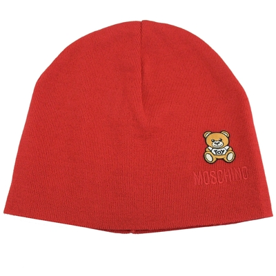 MOSCHINO TOY小熊電繡布貼羊毛針織毛帽(紅)