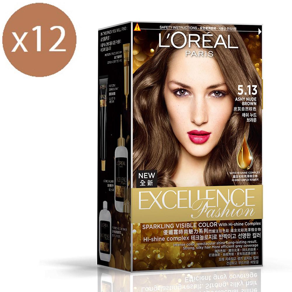 (買六送六)巴黎萊雅 優媚霜時尚魅力系列護髮染髮霜172g-炭灰自然棕色