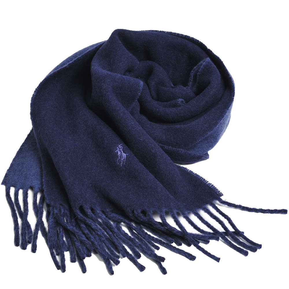 RALPH LAUREN POLO小馬刺繡LOGO雙面配色義大利製羊毛圍巾(海軍藍/灰藍)GUCCI