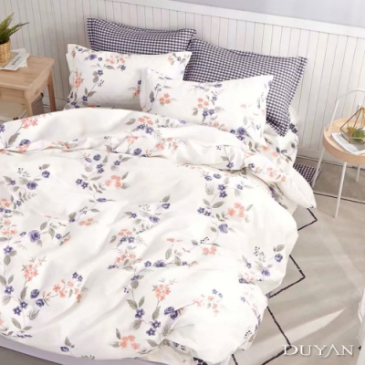 DUYAN竹漾-100%精梳純棉-單人三件式舖棉兩用被床包組-曼蒂的花環 台灣製