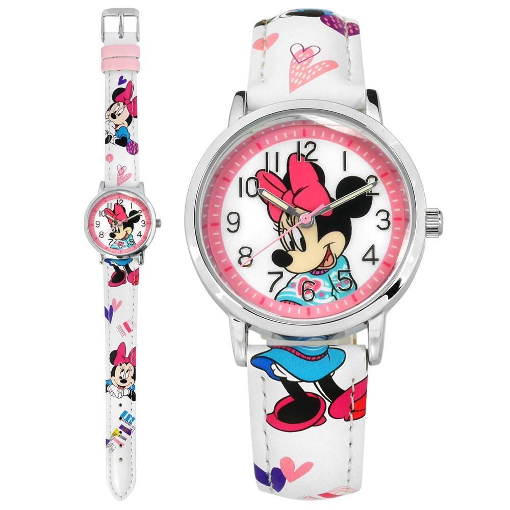 Disney 迪士尼 米奇系列 造型錶帶 兒童錶 卡通錶 皮革手錶-白粉色/32mm