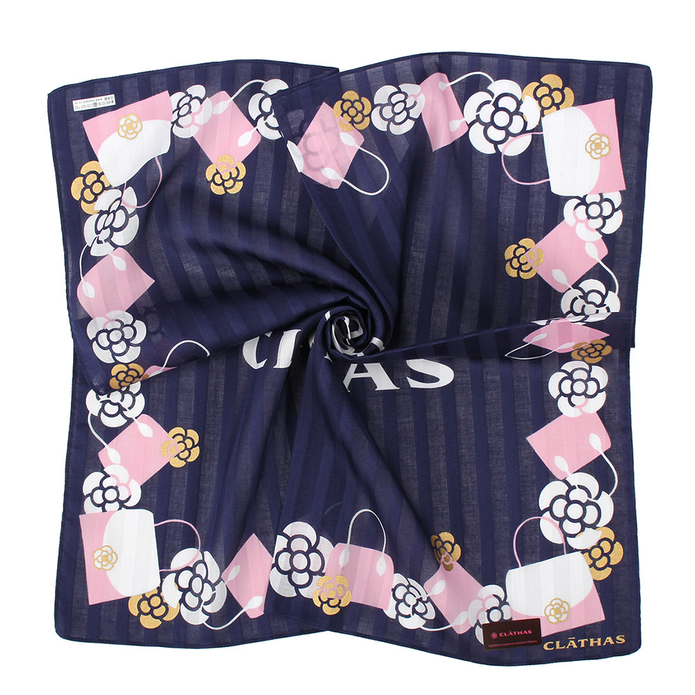 CLATHAS經典氣質女包山茶花LOGO帕巾-深藍