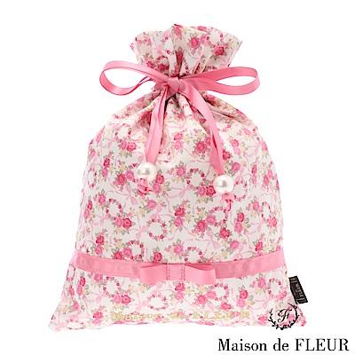 Maison de FLEUR 玫瑰花蝴蝶結絲帶束口包