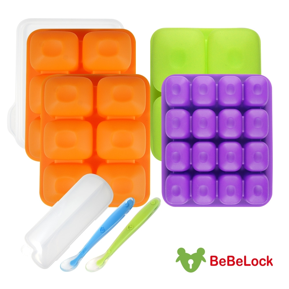 BeBeLock副食品Tok-Tok連裝盒4入+矽膠湯匙乙入