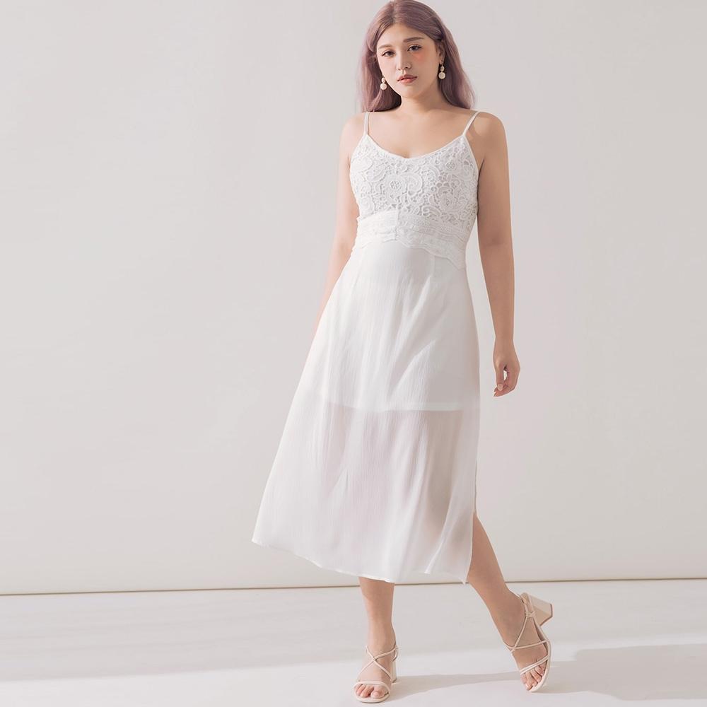 AIR SPACE PLUS 細肩蕾絲拼接雪紡開衩洋裝(白)