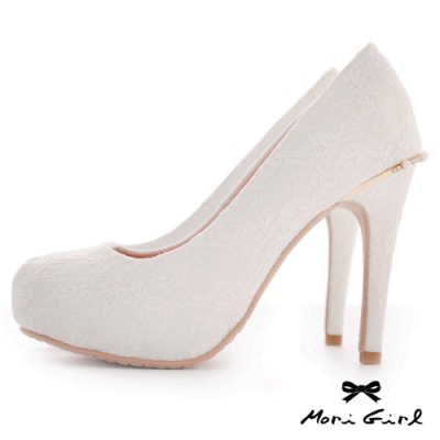 Mori girl蕾絲後水鑽珍珠高跟婚鞋 白