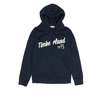 Timberland 男款藍色拉鍊連帽運動衫 | A1WAB433