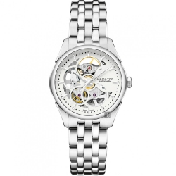 Hamilton 漢米爾頓 JAZZMASTER 鏤空機械女錶-白x銀/36mm