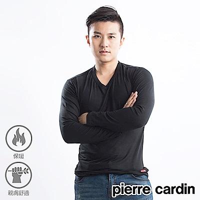 Pierre cardin 皮爾卡登 發熱保暖莫代爾V領發熱衣-單件-黑色