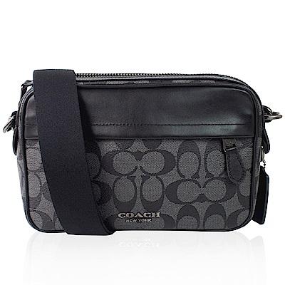 COACH  新款 大C Logo PVC 壓紋/GRAHAM 相機 斜背包-灰黑色