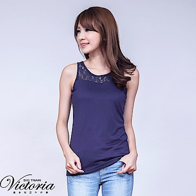 Victoria 蕾絲剪接背心-女-深藍
