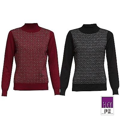 ILEY伊蕾 織蔥幾何緹花羊毛混紡立領針織上衣(黑/紅)
