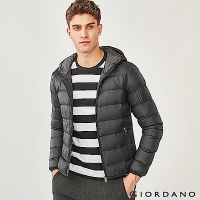 GIORDANO 男裝 90%白鴨絨可機洗輕量連帽羽絨外套-09 標誌黑