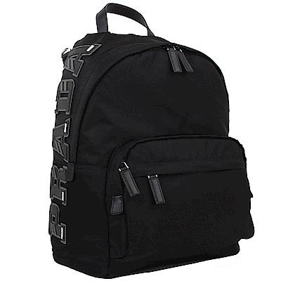 PRADA 品牌撞色字母拼接設計尼龍後背包(經典黑)