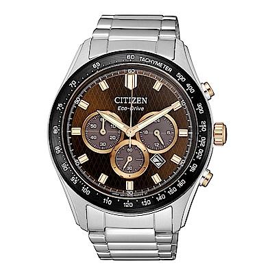 CITIZEN 星辰光動能三眼計時手錶(CA4456-83X)-咖啡X銀/43mm
