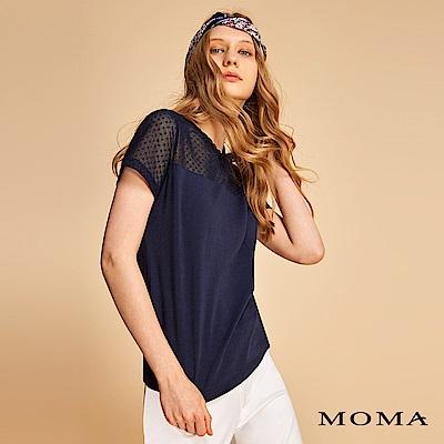 MOMA 圓點雪紡拼接針織上衣