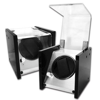 機械錶自動上鍊收藏盒 1旋1入錶座轉動 壓克力 - 黑色