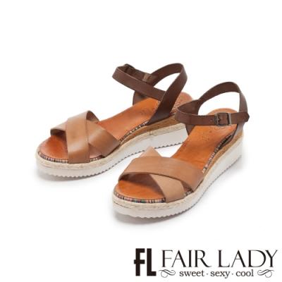 【FAIR LADY】PORRONET 交叉皮革寬帶楔型厚底涼鞋 橄欖綠