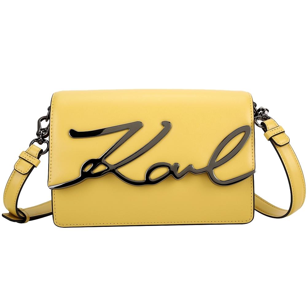 KARL LAGERFELD K/Signature 卡爾 簽名金屬字樣牛皮肩背包(黃色)
