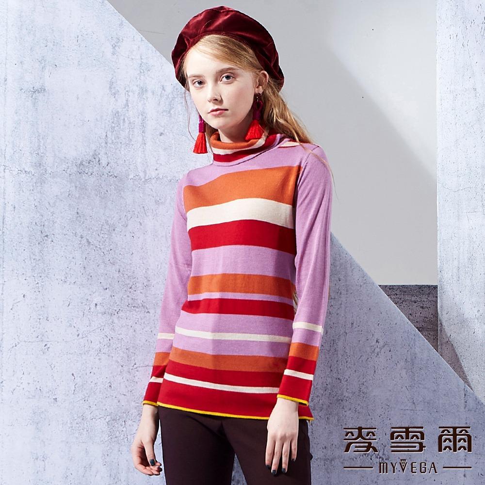 【麥雪爾】注目采條高領套頭羊毛上衣-紅