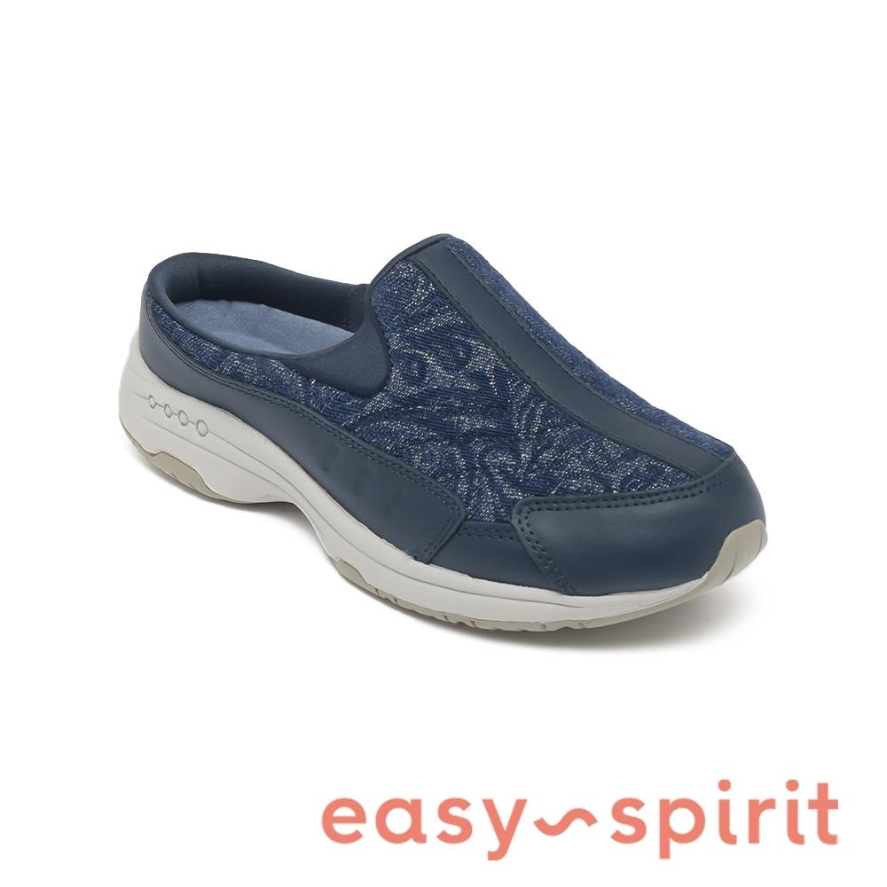 Easy Spirit-seTRAVELTIME304 真皮舒適圖騰休閒包覆拖鞋-深藍色