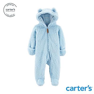 Carter's 毛茸茸連帽連身裝(藍)