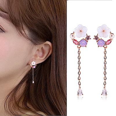 梨花HaNA 無耳洞/耳針款韓國925銀花園天使貝石長款耳環