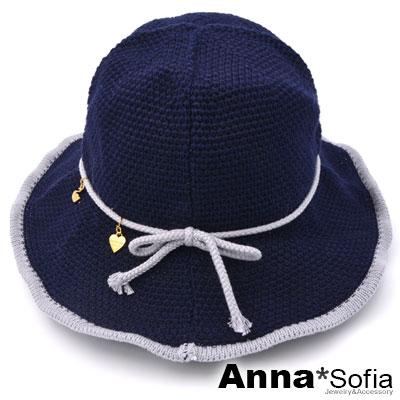 AnnaSofia 滾邊線織綁結垂小墜 軟式遮陽防曬漁夫帽盆帽(深藍系)