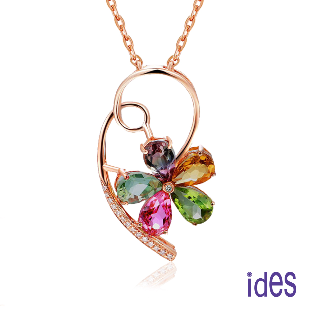ides愛蒂思 歐美設計彩寶系列彩色碧璽晶鑽項鍊/彩寶花朵(玫瑰金色)