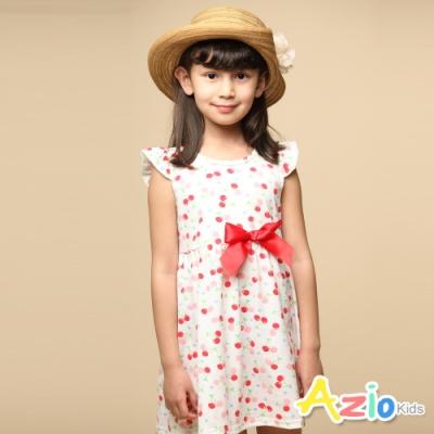 Azio 女童 洋裝 滿版櫻桃紅色蝴蝶結荷葉袖洋裝(白)