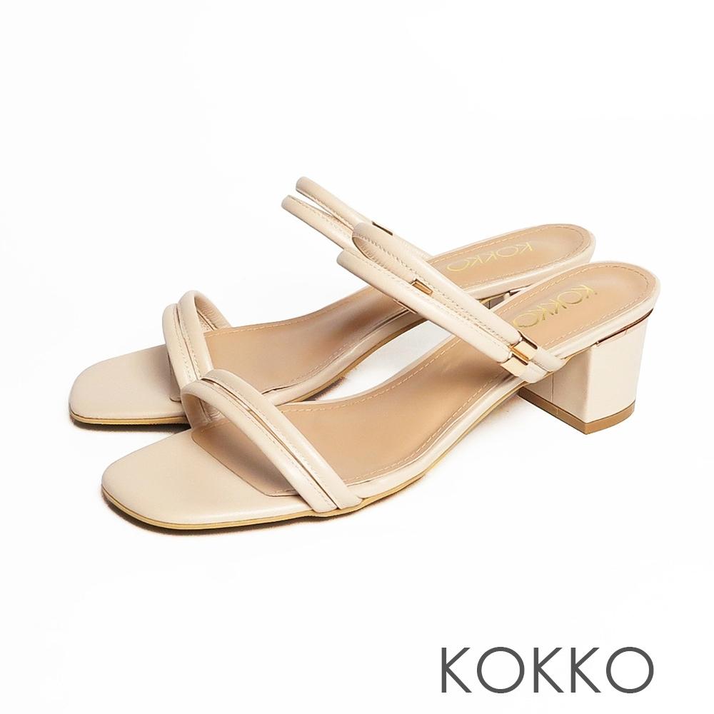 KOKKO -方頭細條粗跟兩穿涼鞋-牛奶米