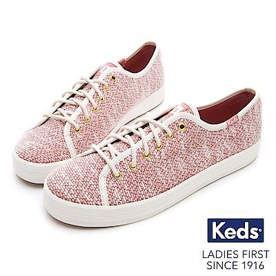 Keds KICKSTART 毛圈線紗綁帶休閒鞋-紅色