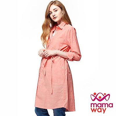 mamaway媽媽餵 大地系襯衫兩用孕哺洋裝(共2色)