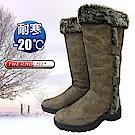 極地時尚 女新款 高筒毛絨側扣專業保暖雪鞋_可可