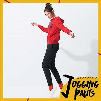 GIORDANO 女裝雙面空氣層立體剪裁側面邊條運動束口褲 - 31 標誌黑