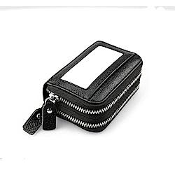 GT0083BK真皮雙層加大零錢包風琴包皮夾黑色